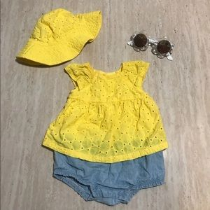 Yellow dress onesie and matching hat